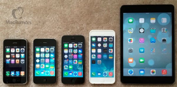 Макет iPhone 6 сравнили с нынешними устройствами Apple