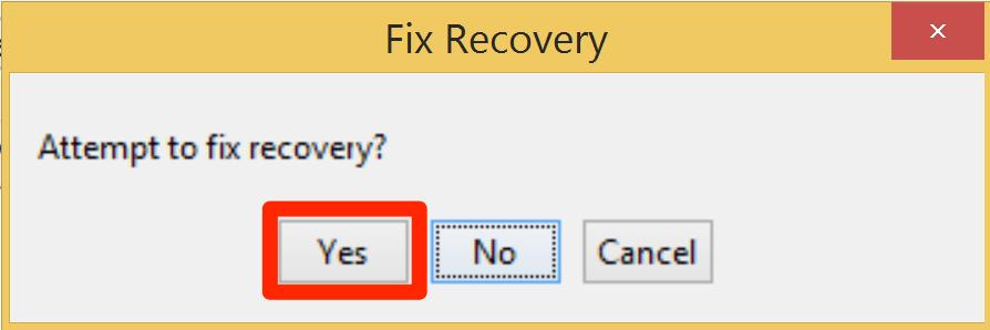 Подтвердите согласие на попытку выводы устройства из Recovery Loop
