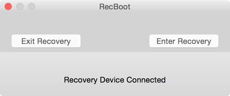 Главное окно RecBoot с подключенным iPhone в петле восстановления