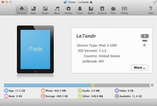 iTools с подключенным iPad
