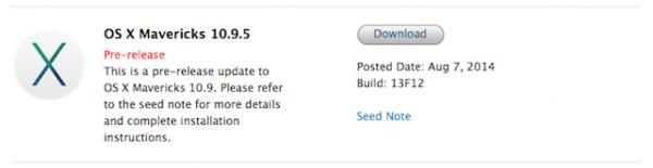 Apple выпустила вторую бета-версию OS X 10.9.5