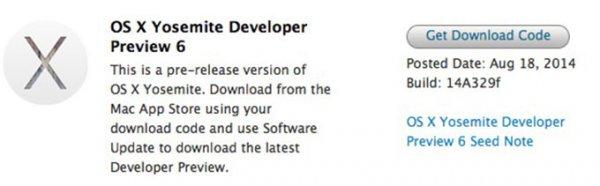 Apple выпустила OS X Yosemite Developer Preview 6