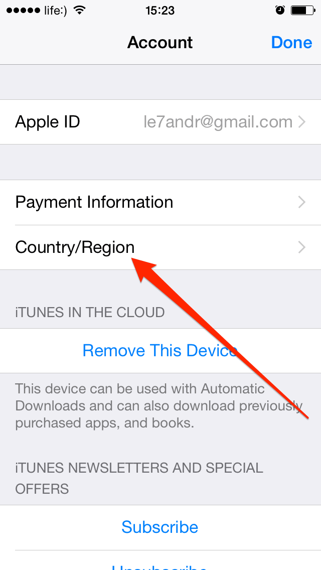 how to change apple id country region