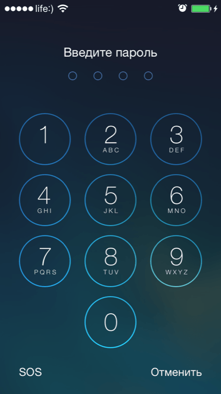 Вид формы ввода пароля на экране блокировки iPhone