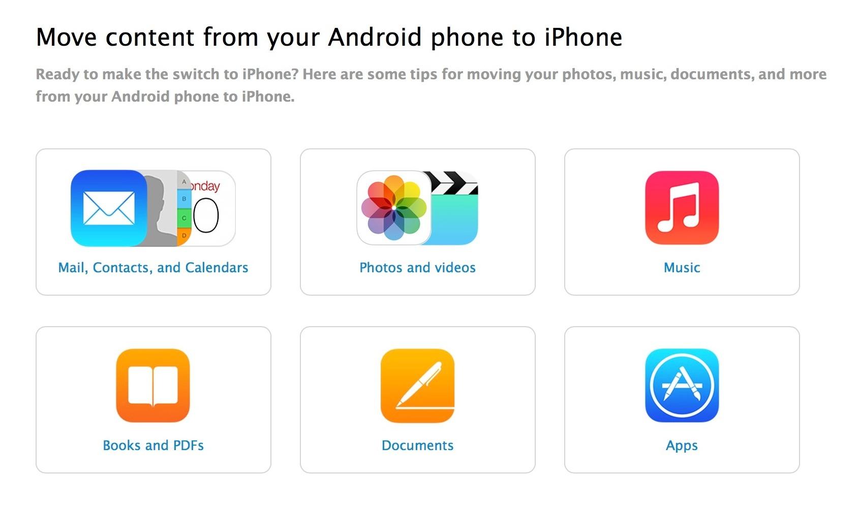 Apple выпустила руководство по переходу с Android на iOS