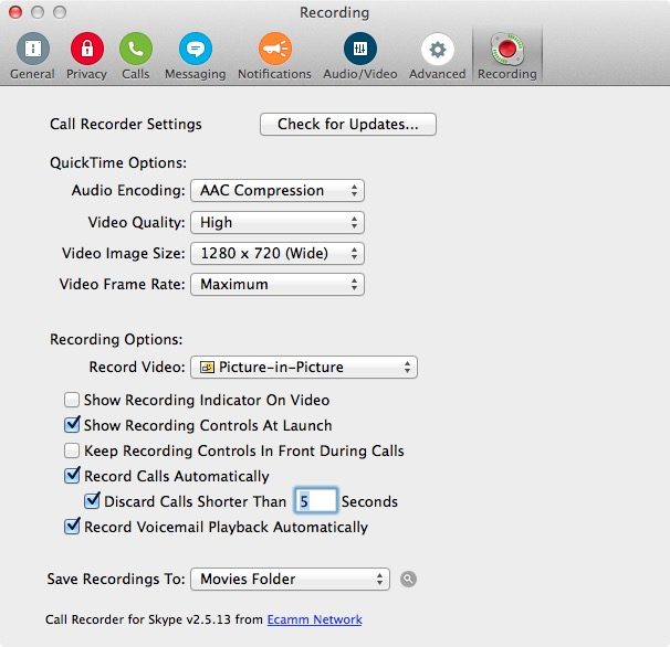 Настройки записи видео и звука в Ecamm Call Recorder for Skype