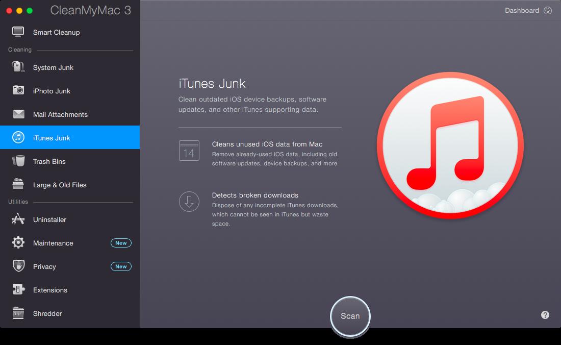 Чистка iTunes в CleanMyMac 3