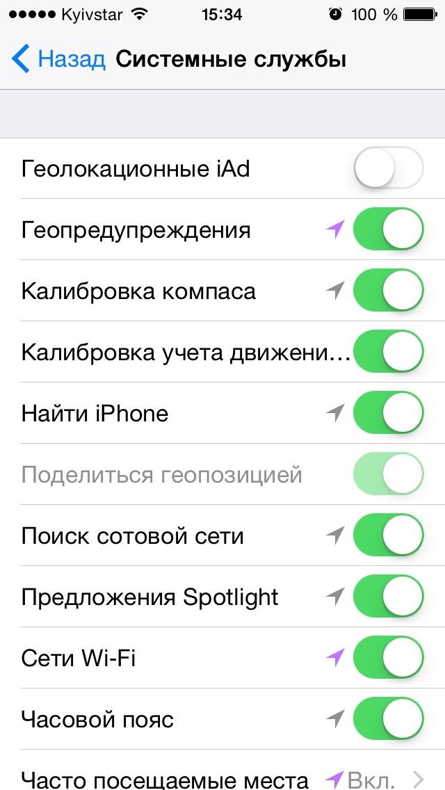 Службы геолокации для функции Найти iPhone