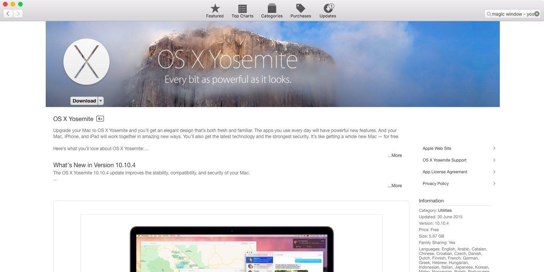 Страница MAS со скачиванием Yosemite