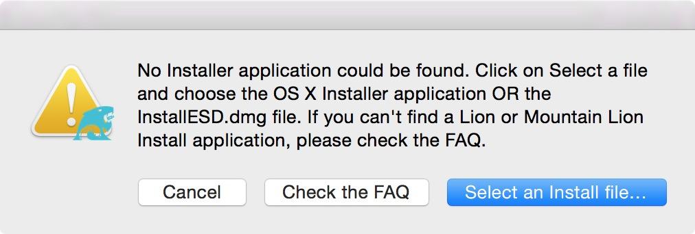 Указание пути к образу OS X в DiskMaker X