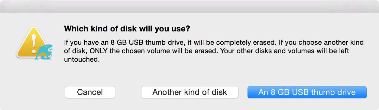 Выбор назначения установки OS X