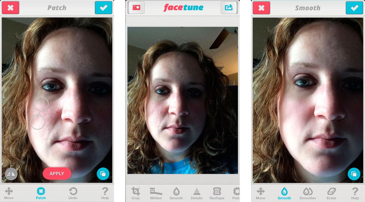 Пример работы Facetune на iPhone