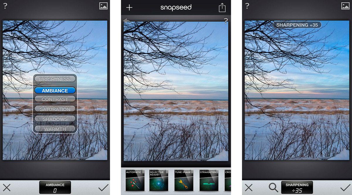 Пример работы Snapseed на iPhone