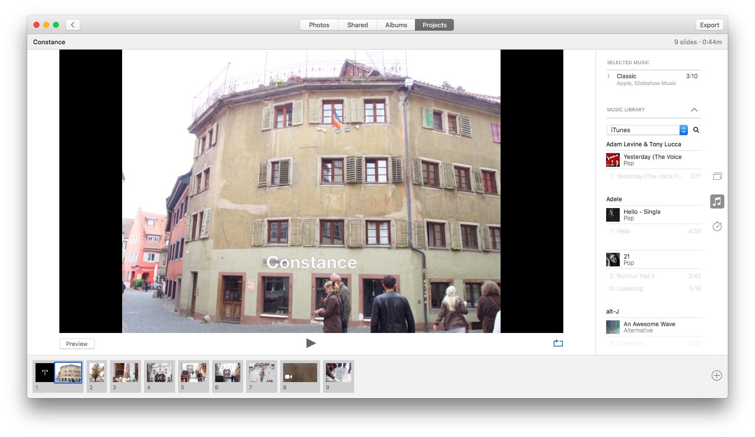 Создание видео в Apple Фото