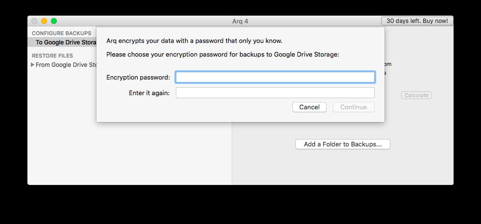 Создание мастер-пароля в Google Drive
