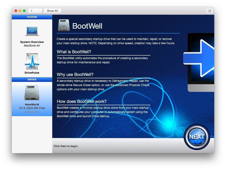 BootWell в Drive Genius 4