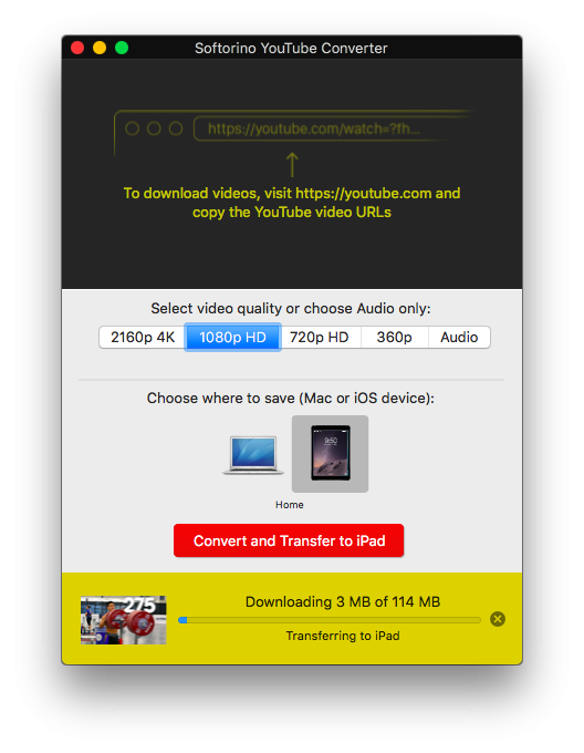 Трансфер на iPad с помощью Softorino YouTube Converter