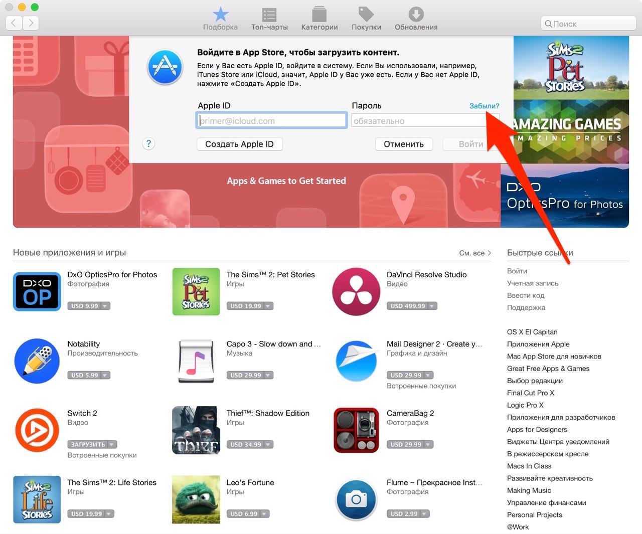 Панель авторизации в Mac App Store