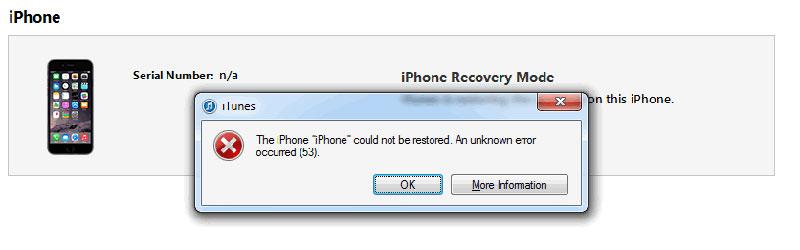 Ошибка 53 в iTunes при обновлении iOS на iPhone 6