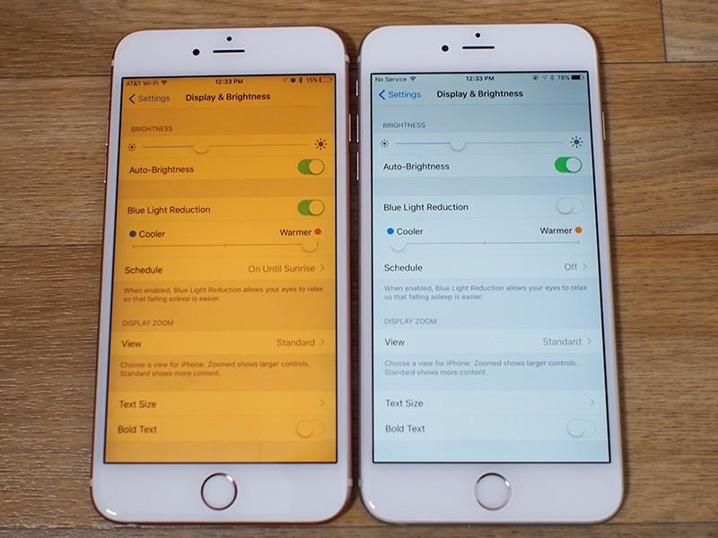 Сравнение изображений на экране iPhone с включенным и отключенным режимом Night Shift