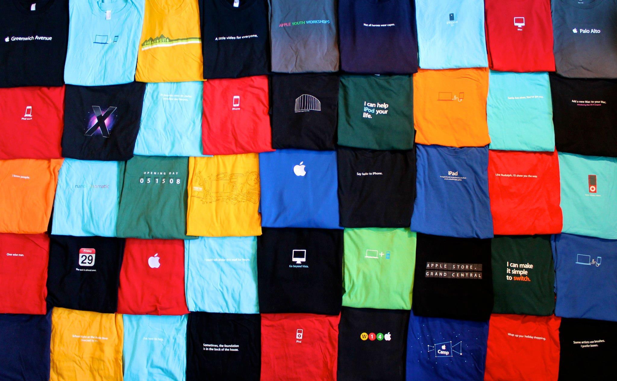 Разнообразие футболок Apple