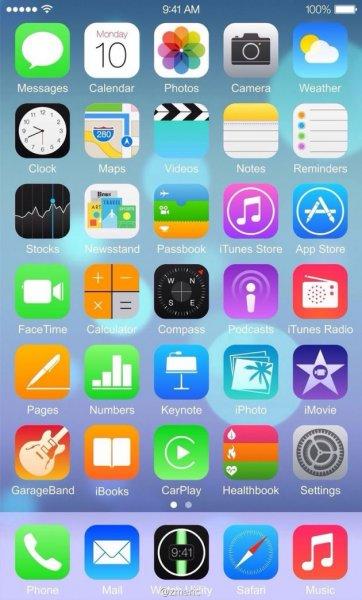 Опубликован первый скриншот iOS 8 на iPhone 6