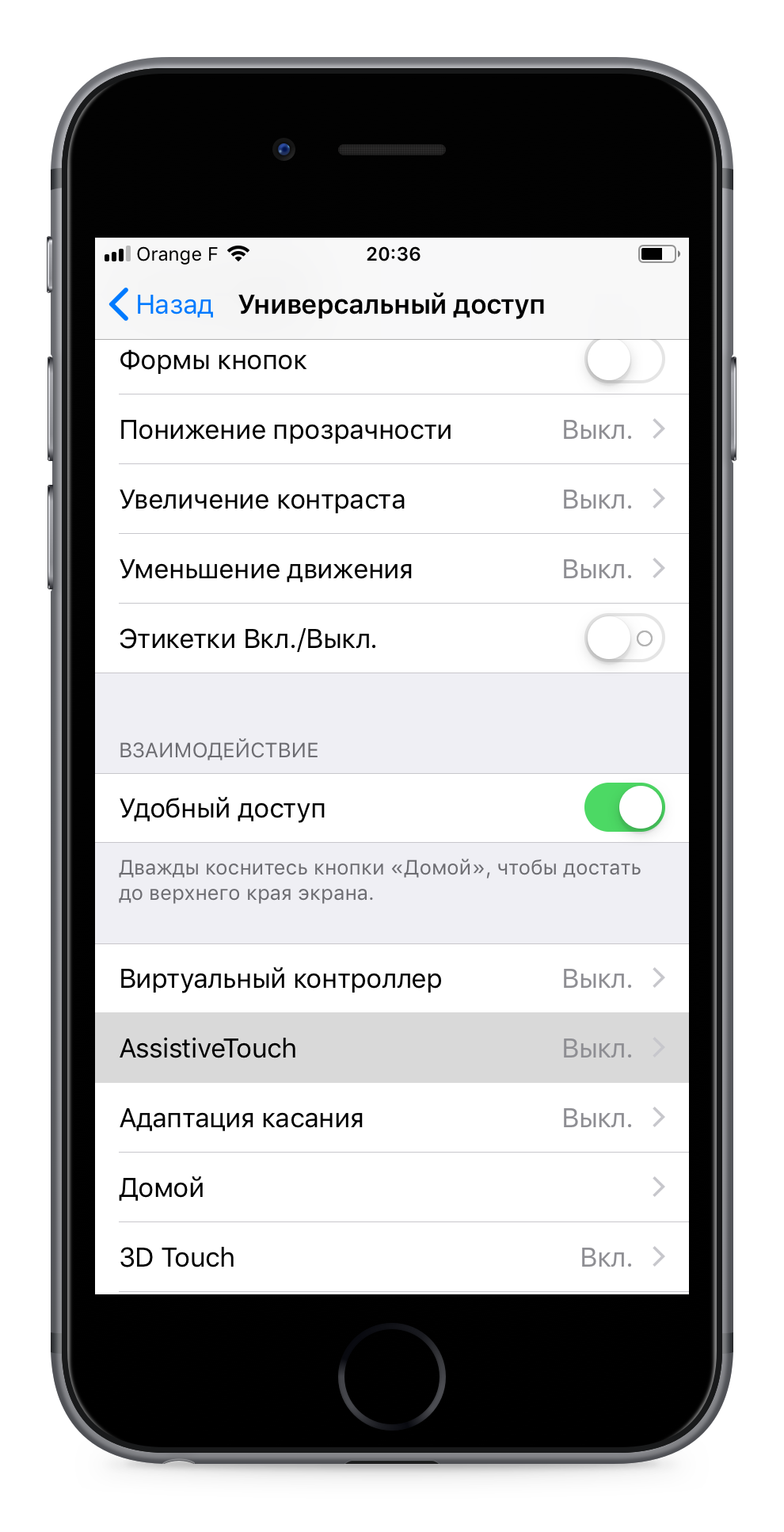 iPhone 6S iOS 12 вход в Assistive touch