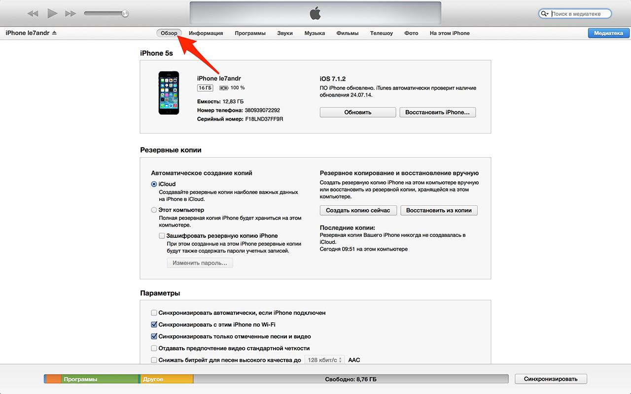 Вкладка Обзор iPhone в iTunes