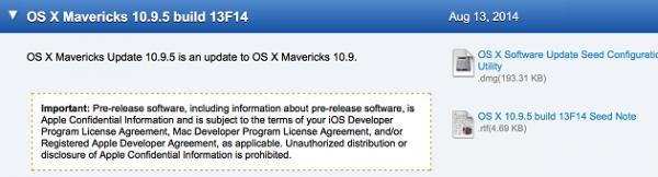 Apple выпустила третью бета-версию OS X 10.9.5 Mavericks