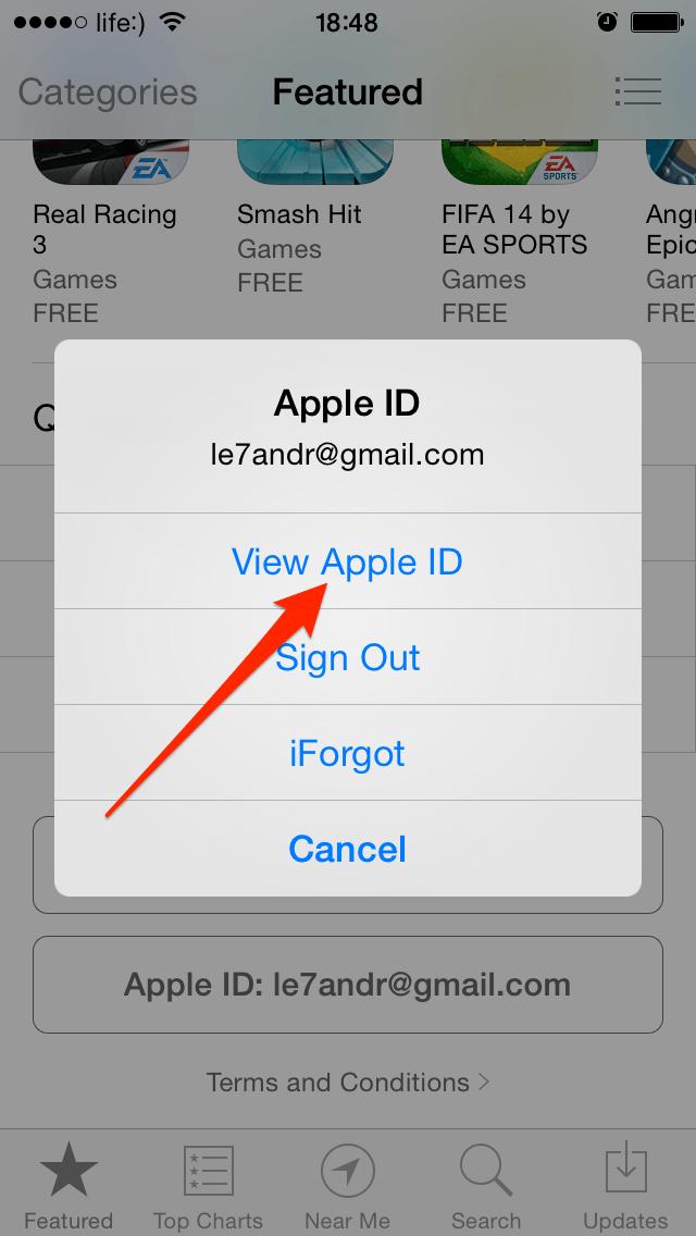 Просмотр информации об Apple ID на iPhone