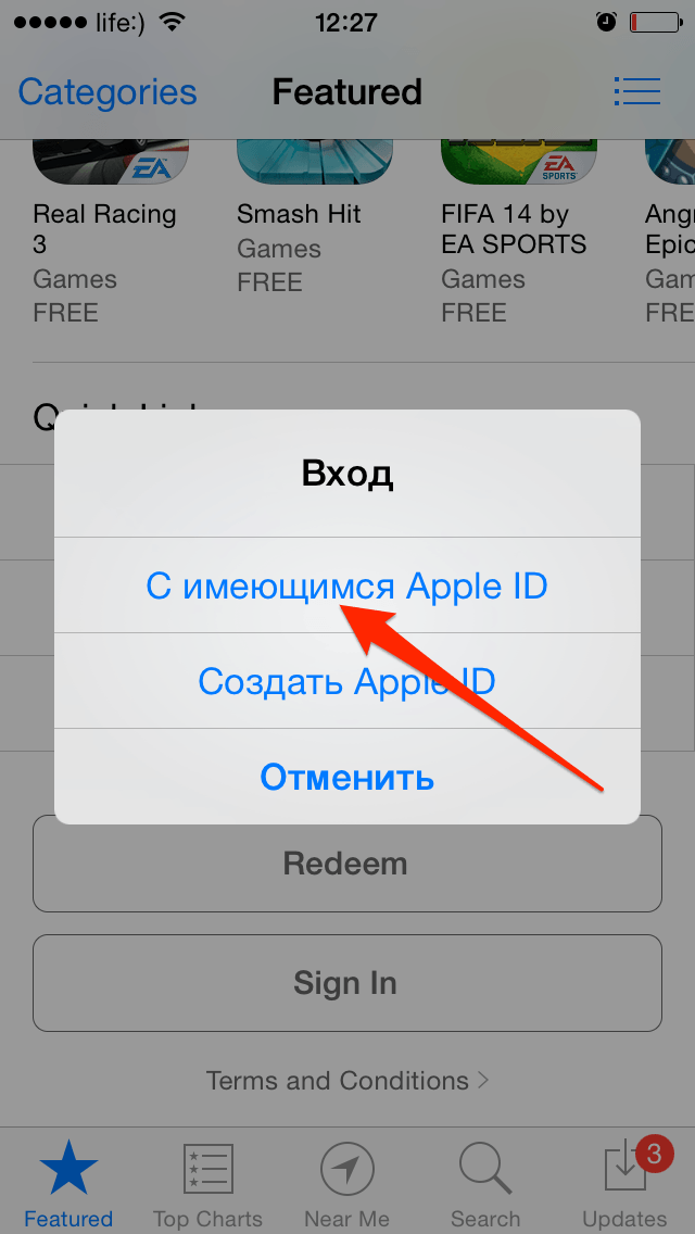 Вход в магазин на iPhone с существующим Apple ID