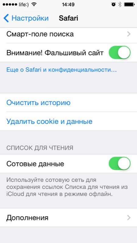 Меню Safari в настройках iPhone