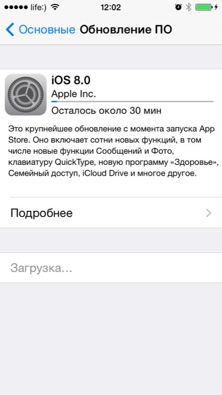Меню Обновление ПО в iPhone