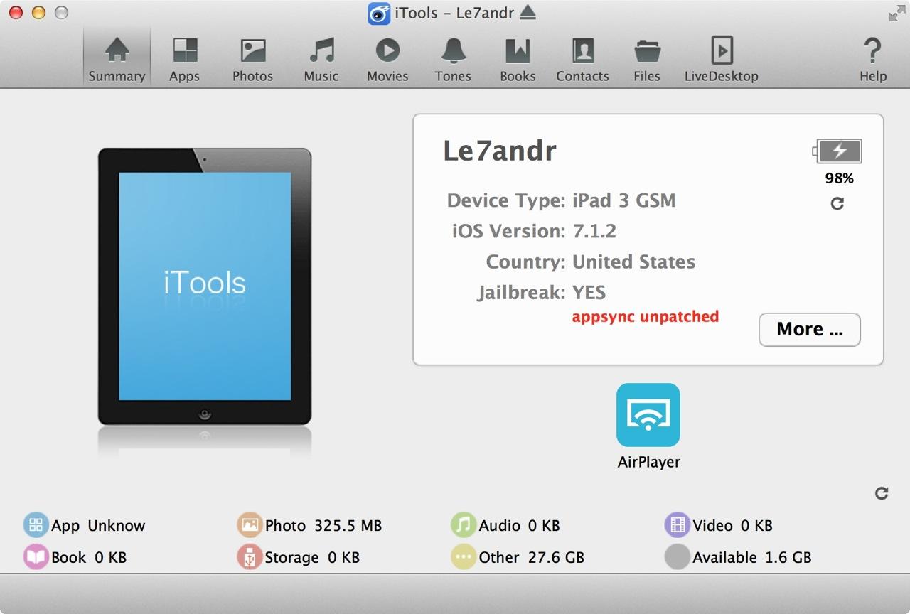 Главный экран iTools для Mac OS X