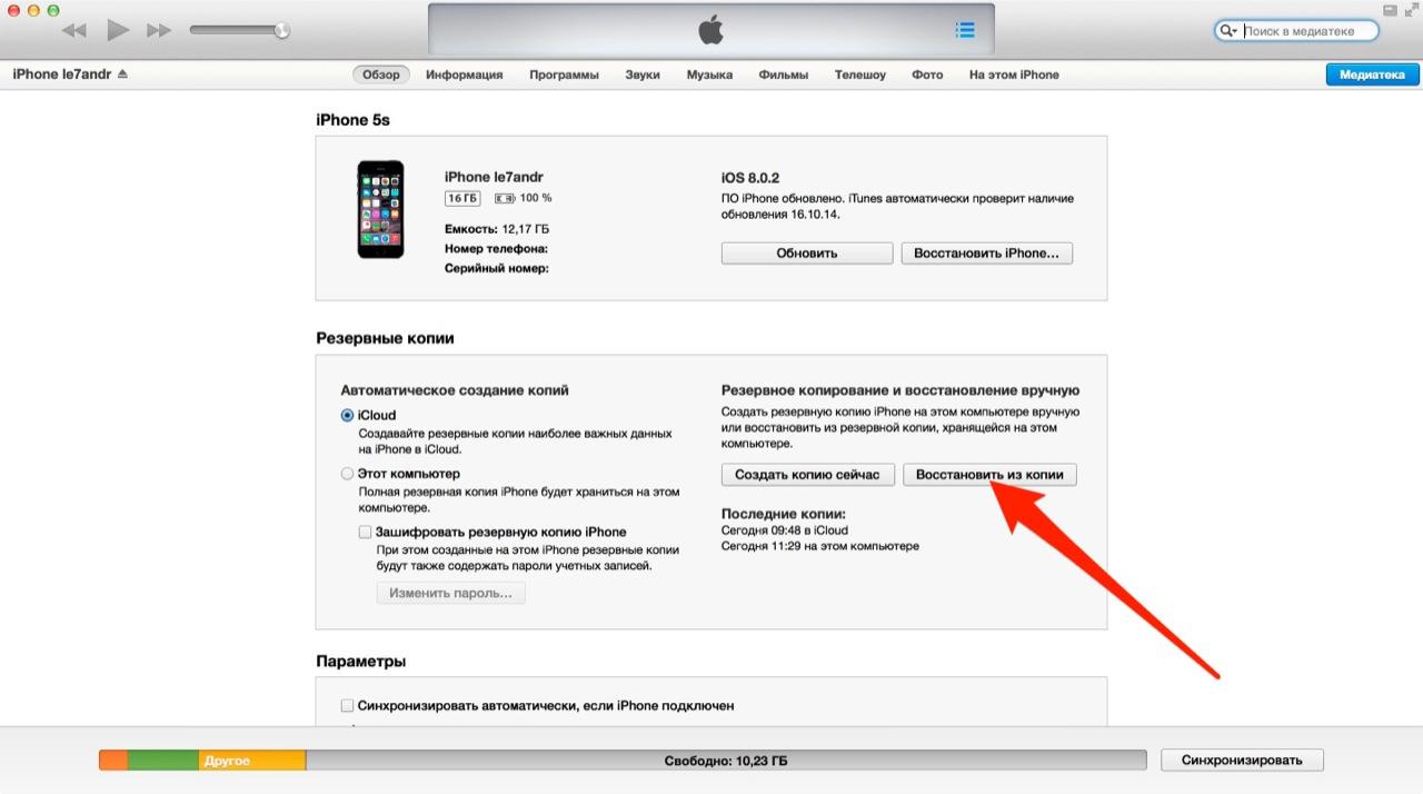 Главная страница устройства в iTunes