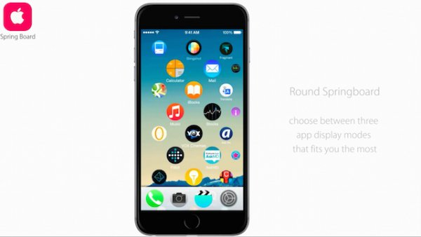 Концепт iOS 9 с с возможностью гибкой настройки интерфейса
