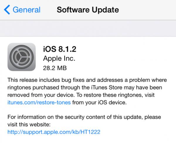 Вышла iOS 8.1.2, проблемы с исчезающими рингтонами решены