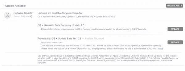 Вышла публичная бета-версия OS X 10.10.2 Yosemite