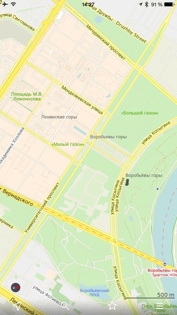 Небольшое приближение на карте Москвы (масштаб 500 м)