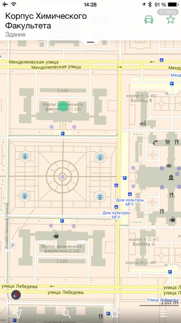 Большее приближение карты Москвы (масштаб 100 м)