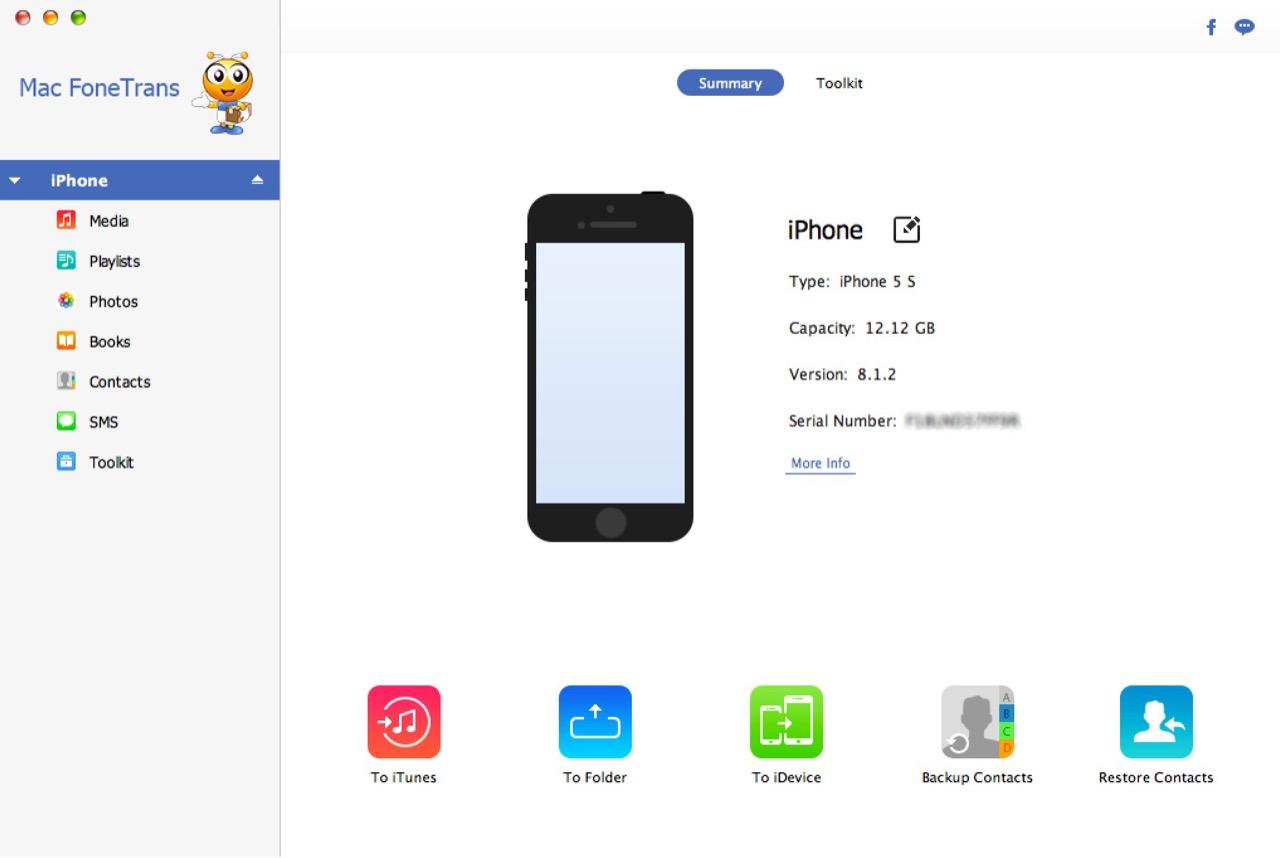 Информация об iPhone в окне Mac FoneTrans