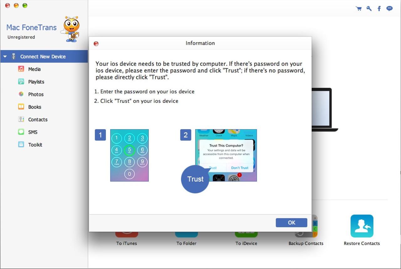 Для работы Mac FoneTrans необходимо подтвердить доверие для доступа к информации на iPhone с компьютера