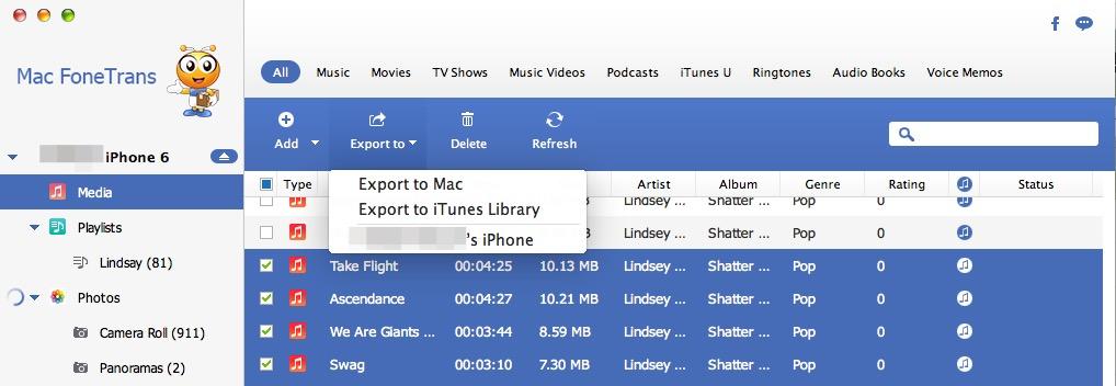 Экспорт между устройствами iOS