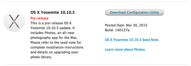 Вышла шестая бета-версия OS X 10.10.3