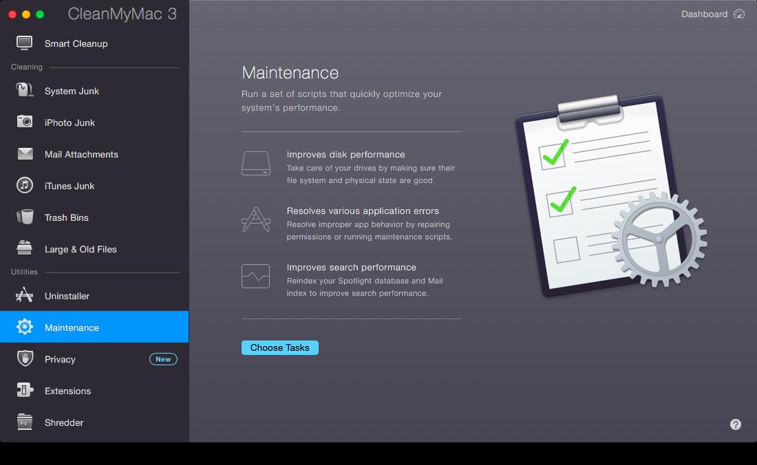 Обслуживание в CleanMyMac 3
