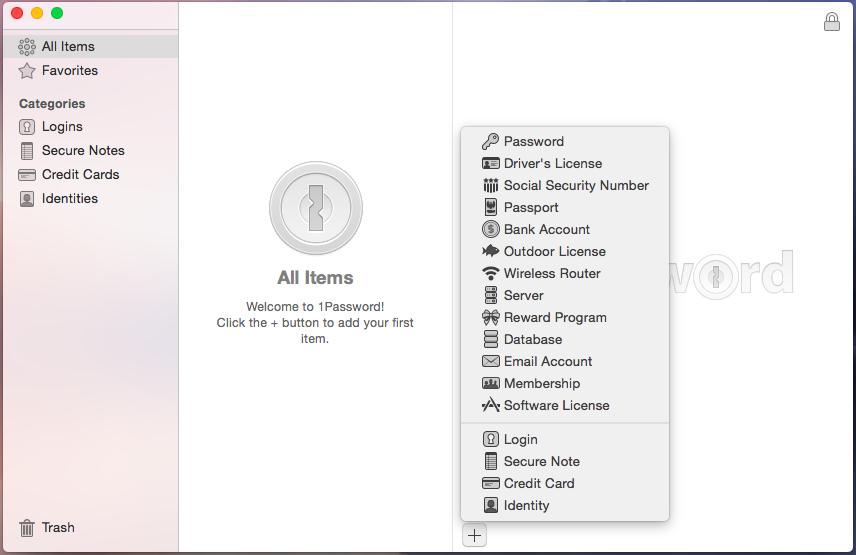Окно 1Password для выбора типа секретных данных