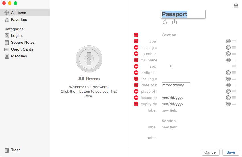Сохранение пасспортных данных 1Password