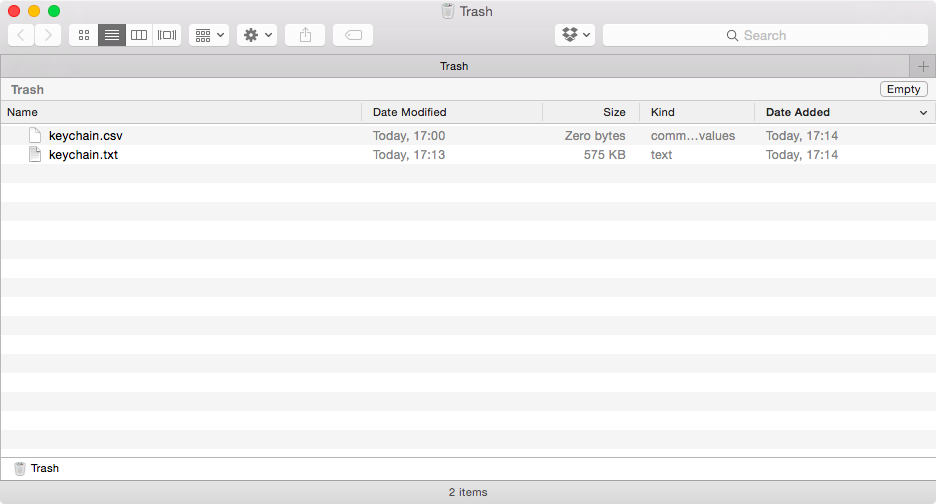 Удаление файлов после переноса паролей