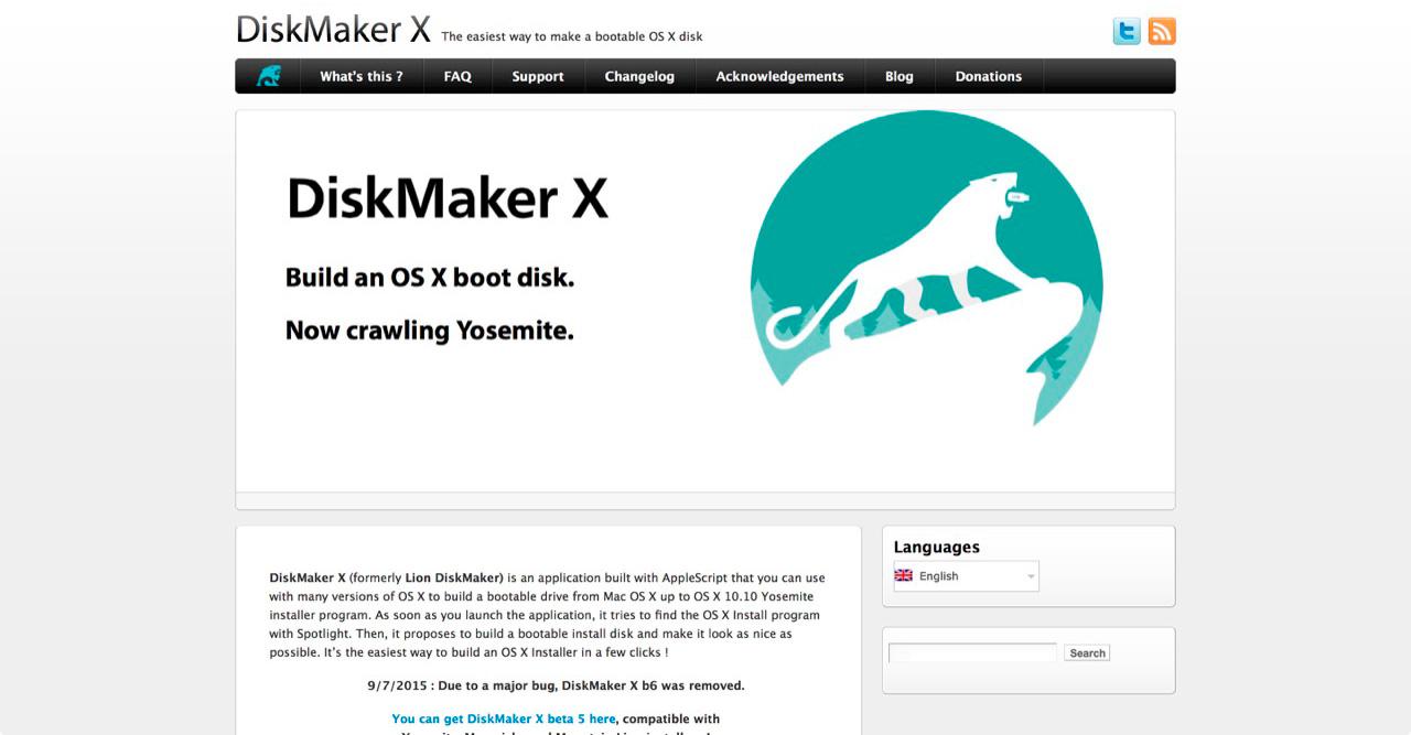 Официальный сайт DiskMaker X