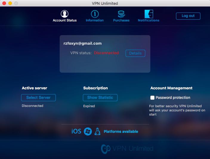 Интерфейс VPN Unlimited